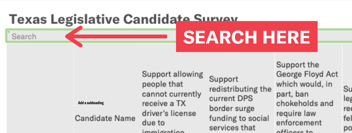 Image: An arrow and text box indicate the search function of the embedded spreadsheet of candidate survey results.