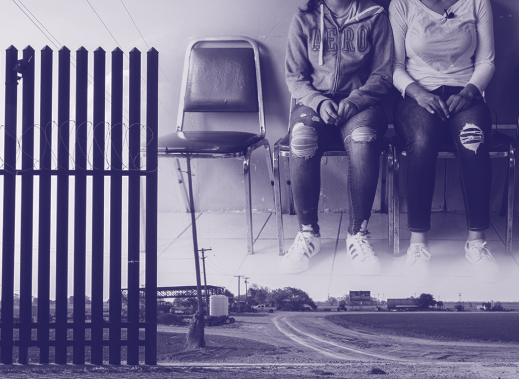 Collage image of the border wall and two asylum seekers seated and waiting