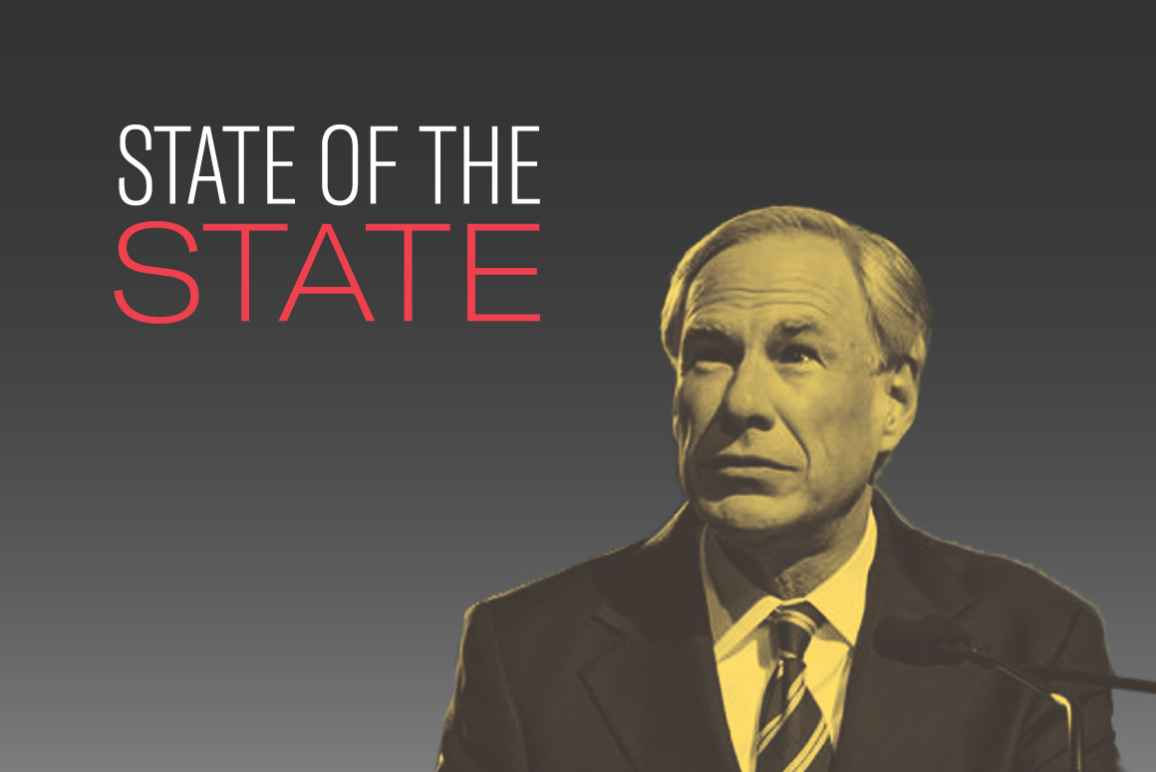 Graphic of Gov. Greg Abbott on grey background with the words: State of the State