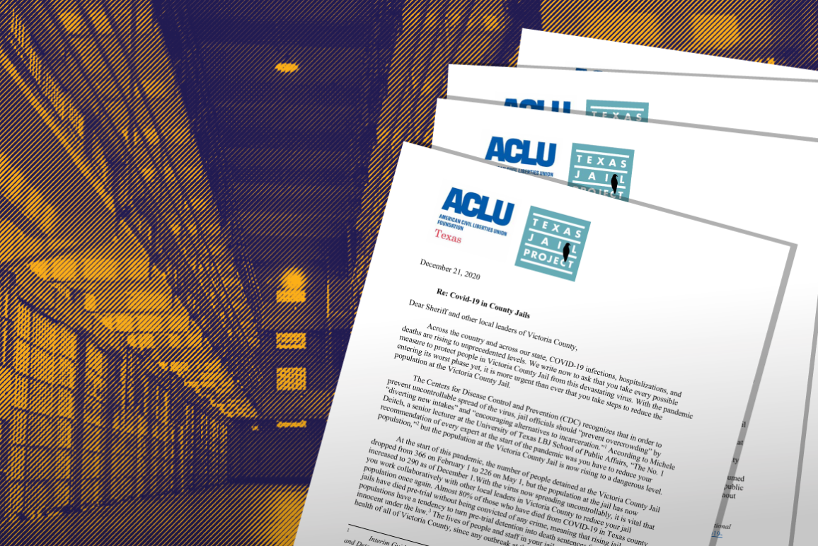 Image: A stylized phot of the interious of a prison shows two levels of cell rows. Documents showing the ACLU of Texas and Texas Jail project logo are splayed across the image.