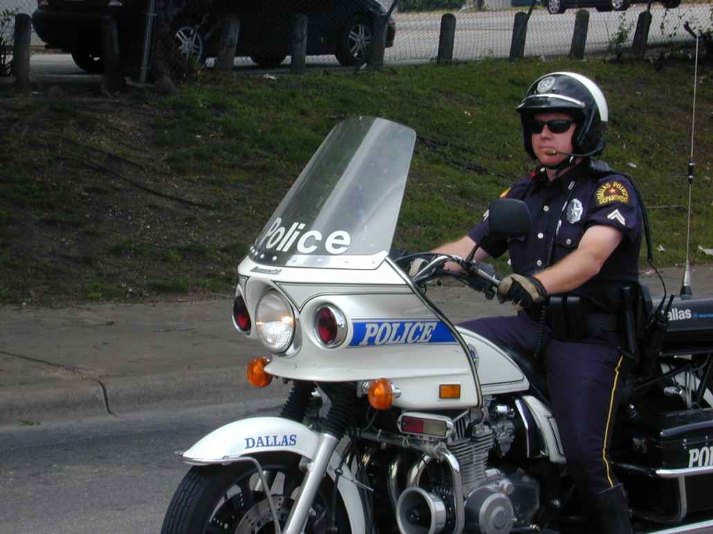 Dalls Police officer on motorcycle