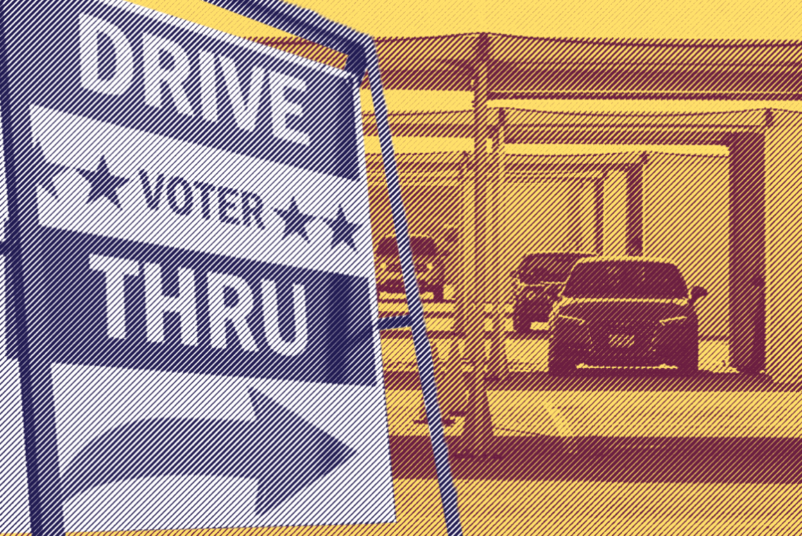 Image: A stylized collage of images shows a Drive-Thru voting sign in the foreground. I nthe background is a covered area, with cars in a queue, spaced out from each other.