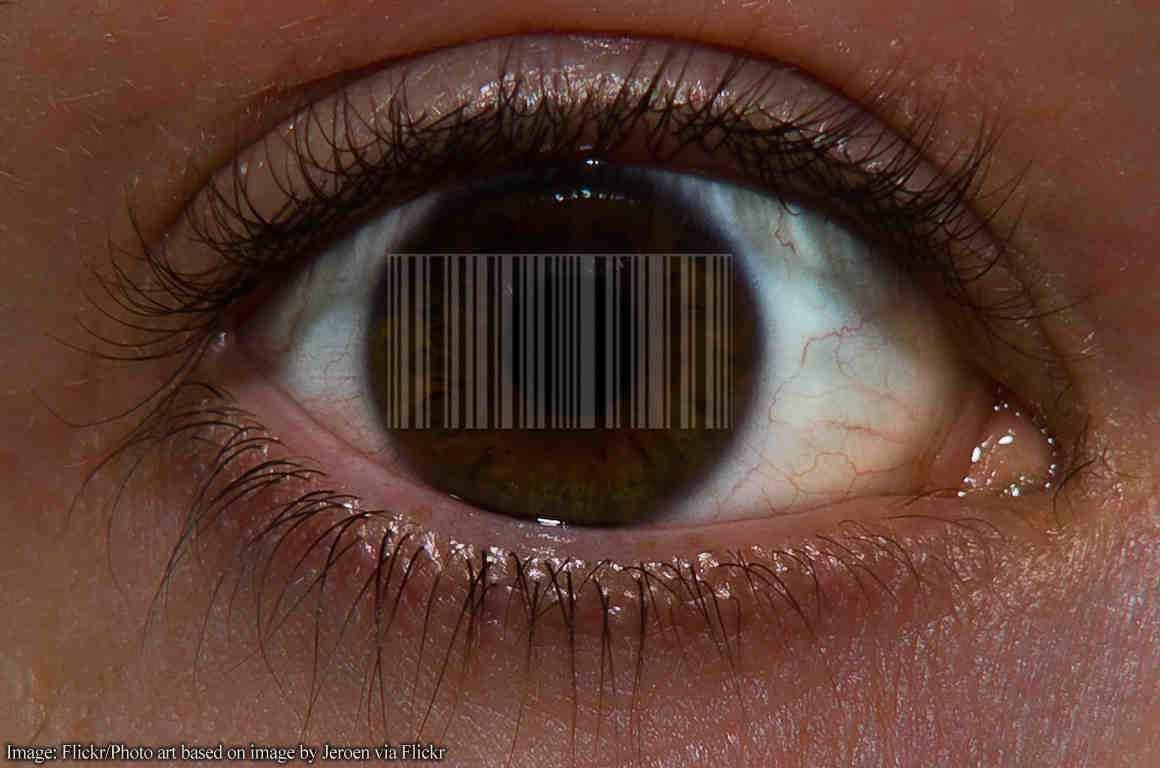 Bar code over eye