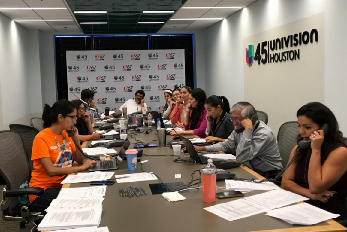Volunteers take calls for the Immigrant Rights hotline
