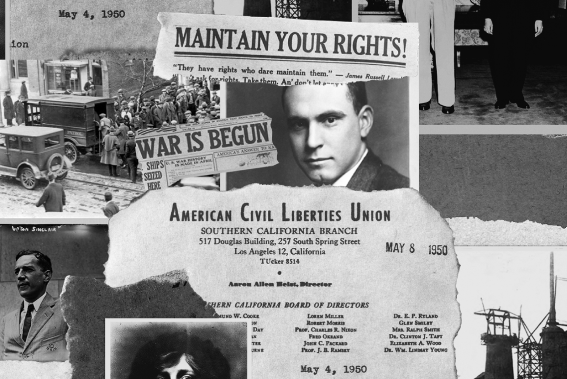 A black and white collage of news clips and Roger Baldwin, founder of the ACLU