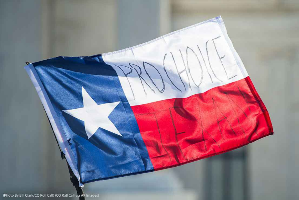 "Texas state flag with the words ""Pro Choice Texan"" written on the horizontal elements"