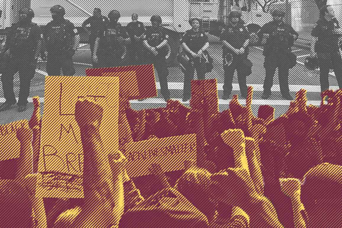 Image: A graphic shows two stylized photos collaged together. In the foreground is a crowd, fists, signs, and phones raised. In the background, police officers in riot gear stand in a line, facing the crowd.