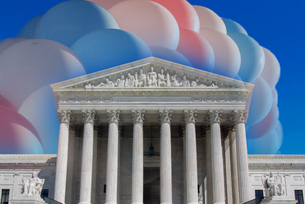 Image: A photo of the Supreme Court building is overlaid with a cluster trans pride colored-balloons.