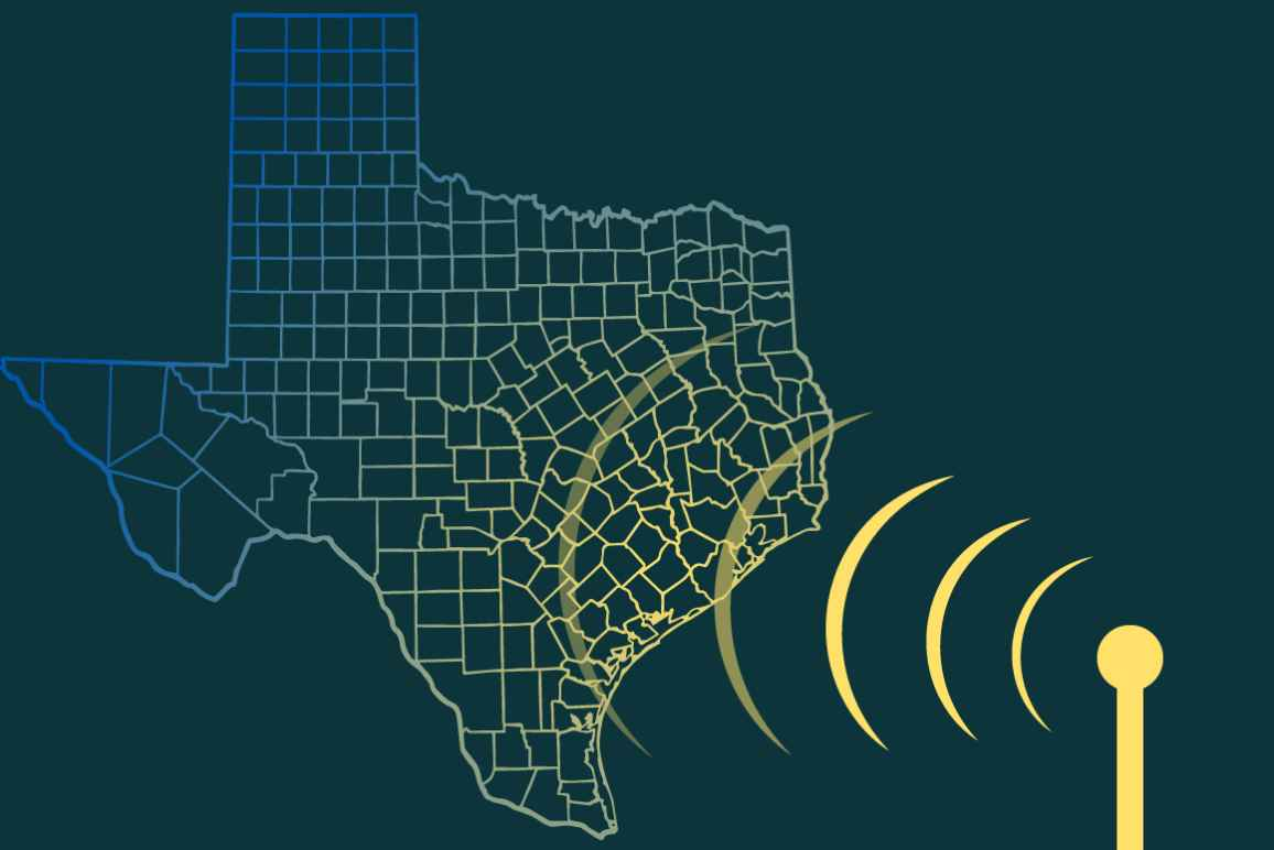 Graphic image of Texas with an internet signal superimposed