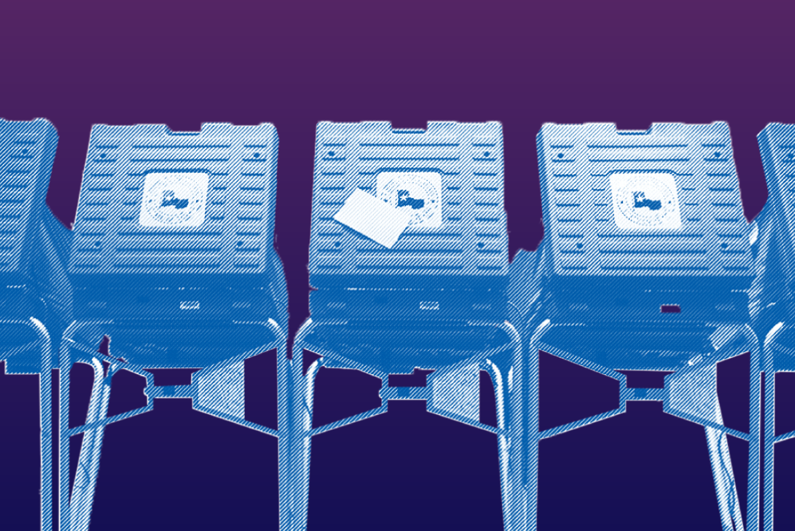 Purple and blue image of voting booths lined up