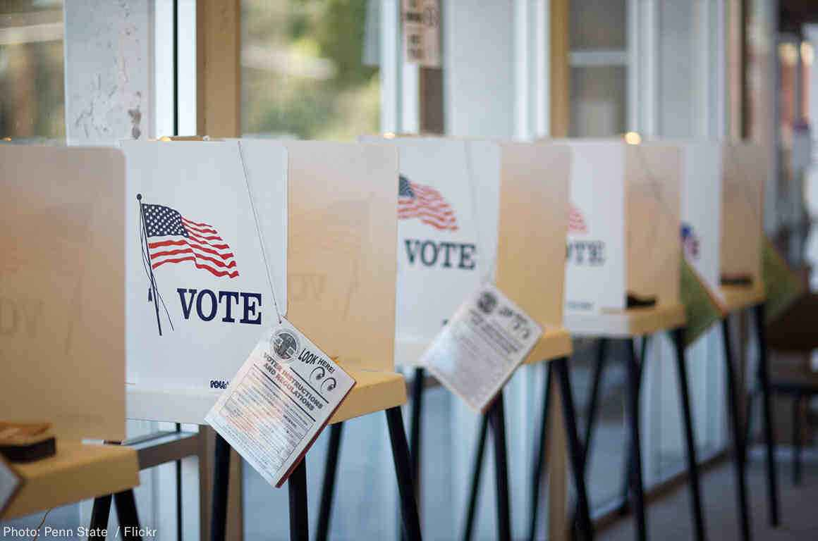 stock photo of Voting booths