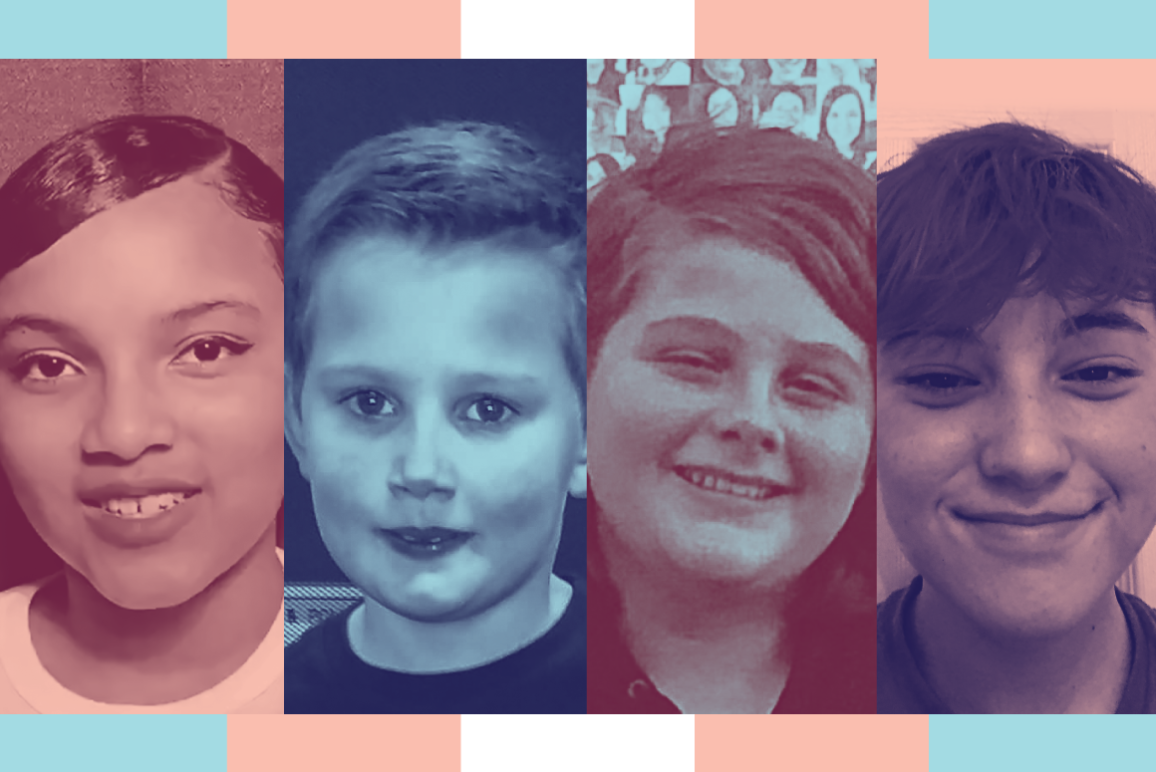 Image: A graphic shows four, stylized, and separate portraits of individual youth. Behind the portraits are multicolored bars representing the trans pride frlag