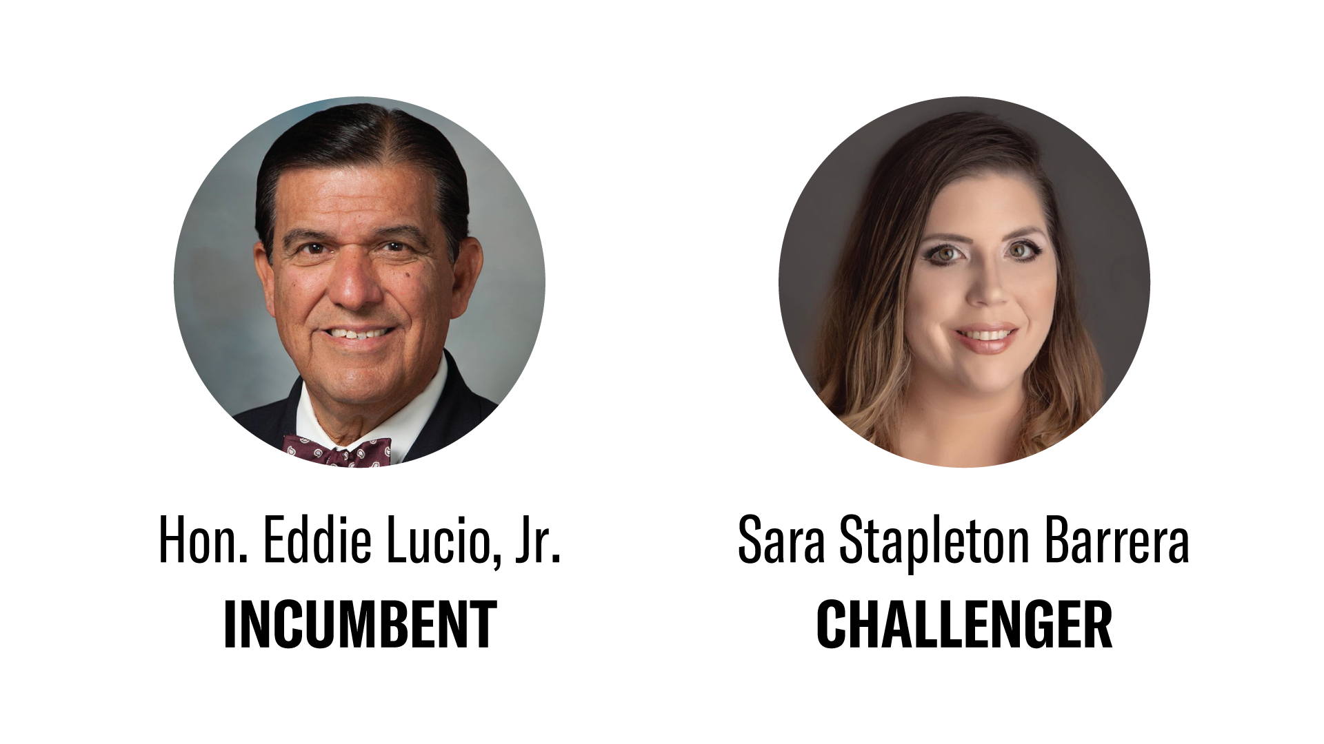 Cropped photos of the candidates running for TX Senate District 27, including: Hon. Eddie Lucio Jr. and Sara Stapleton Barrera.