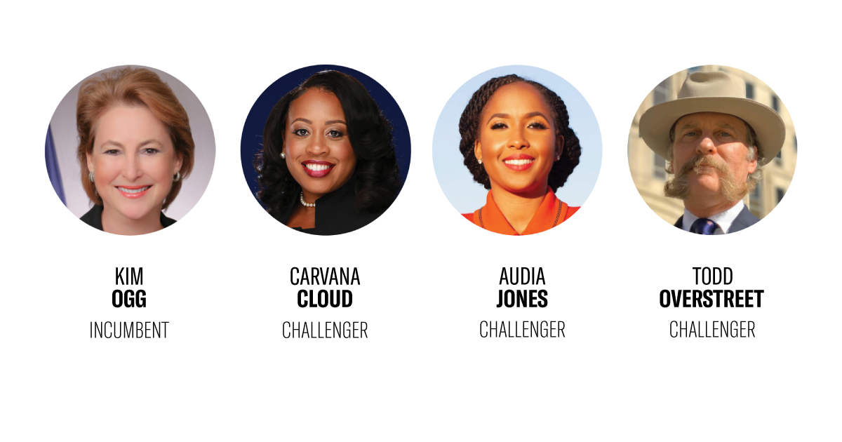 Circle-cropped portraits of candidates for Harris County district attorney race, including District Attorney Kim Ogg, Carvana Cloud, Audia Jones, and Todd Overstreet