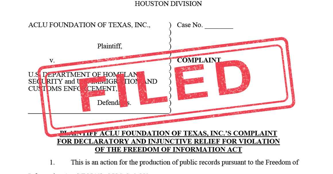 Filed lawsuit ICE freedom information act