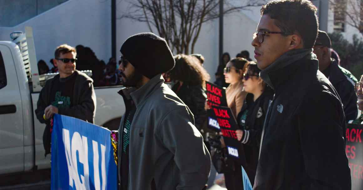 volunteers line up to march at the 2020 MLK parade in downtown Houston, Texas