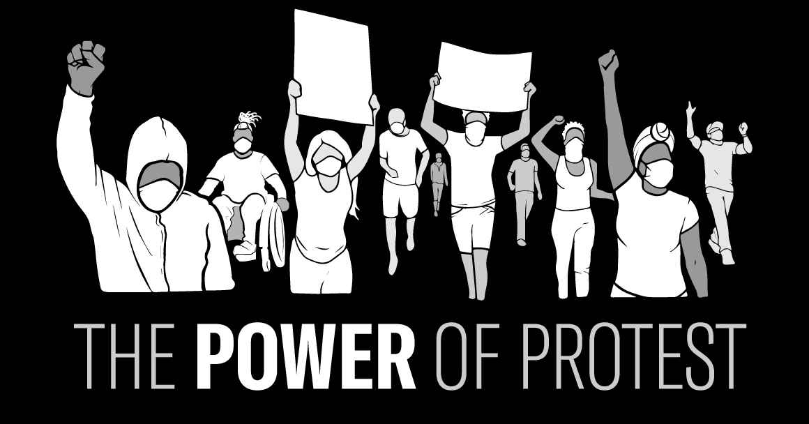 Black and white graphic of a group of peaceful protesters