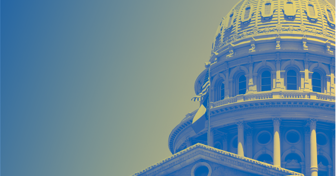 Texas Capitol blue yellow halftone
