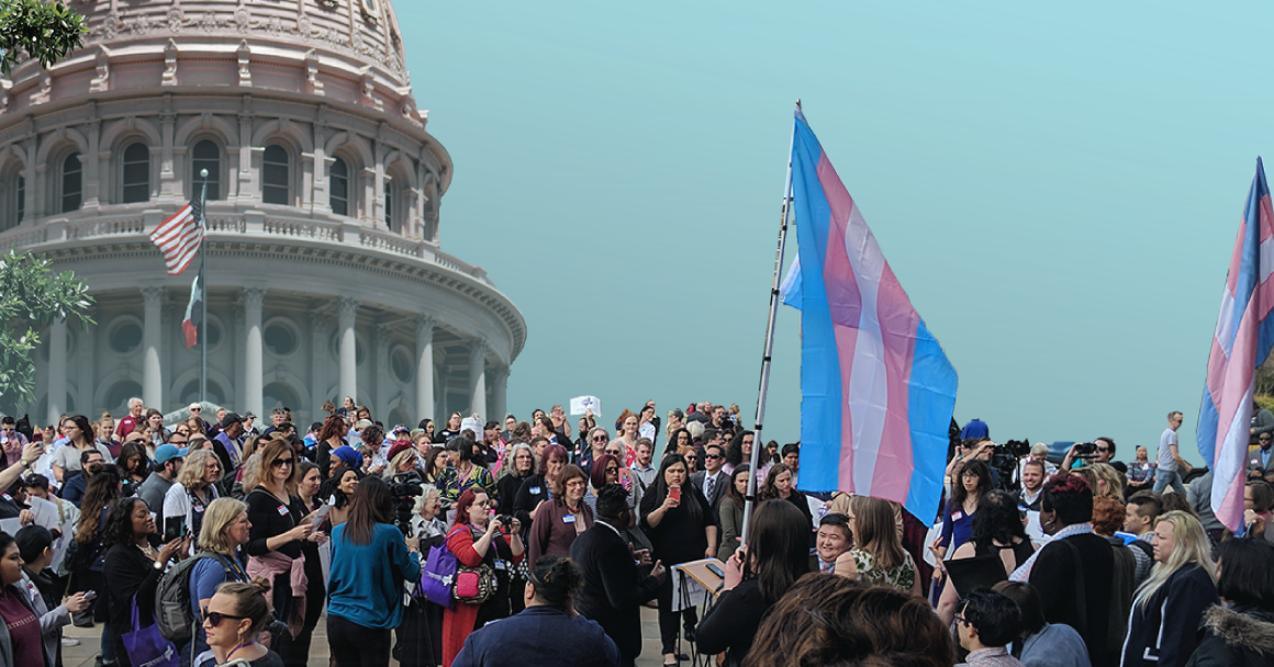 Pro-trans rights advocates at the Texas Capitol