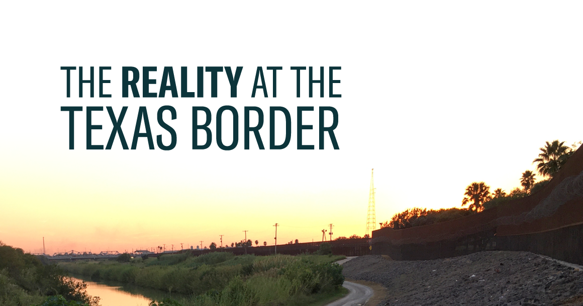 Graphic image of the Rio Grande with the words The Reality at the Texas Border