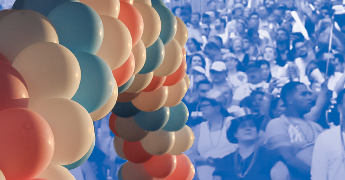 Image: An image of balloon arch with alternating trans pride colors overlaps a stylized image of a crowd of people gathered.