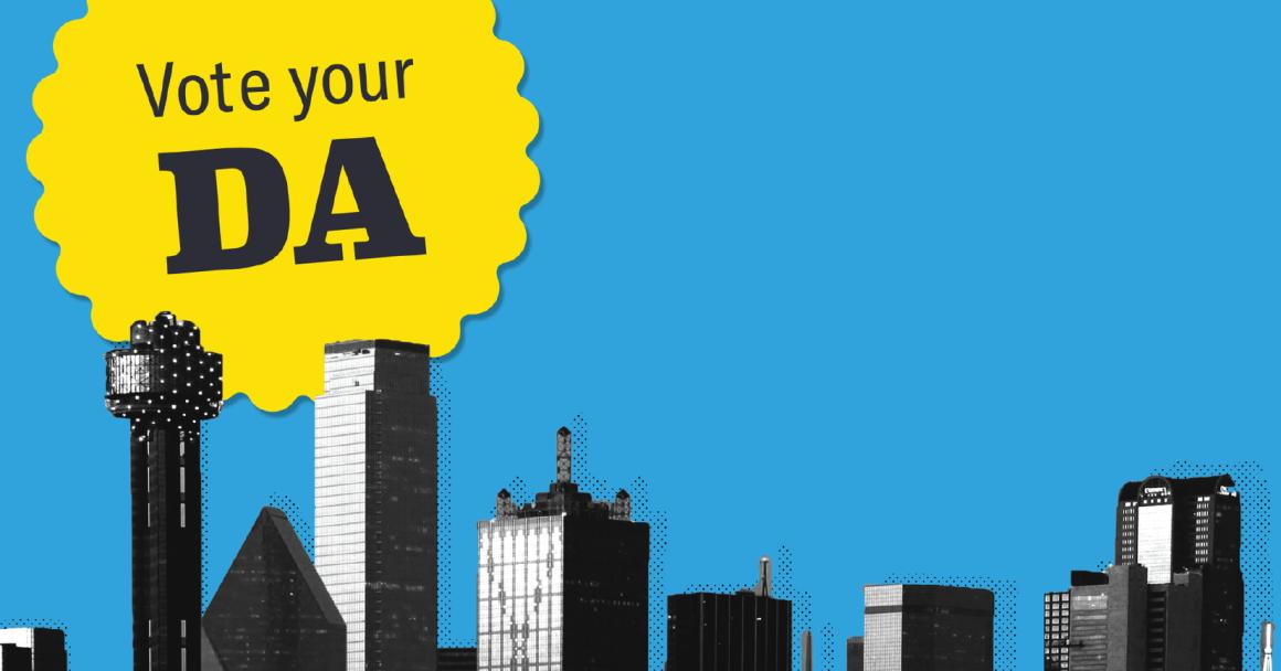 """""""Vote Your DA"""" graphic with Dallas skyline"""